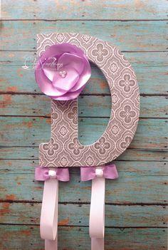 "9"" Custom Headband Bow Holder Headband Bow Organizer, Decoupage Letters, Children Initial Bow Holder Fabric Flower, baby shower gifts on Etsy, $30.00"