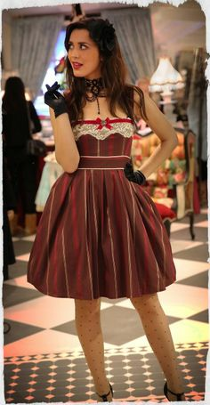 Kitten D'amour High Society Opera Dress - new vintage - maroon, red stripe, white lace, bow  Buy Recent Collections: http://www.kittendamour.com/brand_collections  Buy & Sell Old Collections: https://www.facebook.com/groups/1384135828515551/