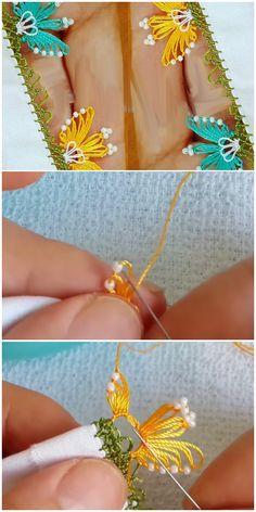 Şirin Görünen Boncuklu Kelebek Oyası Modeli Hand Embroidery Patterns, Embroidery Stitches, Embroidery Designs, Needle Lace, Tatting, Diy And Crafts, Crochet Earrings, Butterfly, Sewing