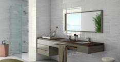 Jemná a moderní série obkladů do koupelny Vetro Blanco je vhodná do menších i větších koupelen. Nabízíme ji v lesklém provedení a formátu 20 x 60 cm. #keramikasoukup #koupelnyodsoukupa #vetro #blanco #bathroom #koupelnyinspirace #inspirace #inspiration #pure #simple #obkladydokoupelny Bathroom Photos, Bathrooms, Double Vanity, Mirror, Building, Wall, Furniture, Shelving Units, Design