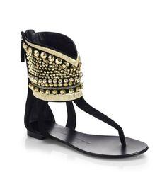Giuseppe Zanotti Embellished Ankle-Cuff Thong Sandals | Buy ➜ http://shoespost.com/giuseppe-zanotti-embellished-ankle-cuff-thong-sandals/