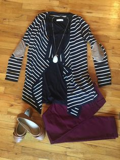 Striped elbow patch cardigan   Country Faith Boutique