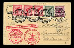 Postcard carried by the LZ127 Graf Zeppelin on its October 12-13, 1929, flight to Holland. The card is franked with five German airmail stamps totaling 50 Reichspfennig in postage and tied with onboard postmarks dated October 13, 1929.