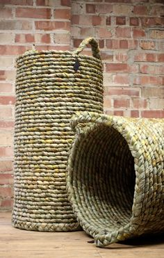 Tall stovepipe baskets.