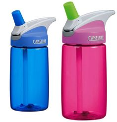 CamelBak Eddy 400ml - Never Spill: Easy for small fingers to operate, the clever cap flips open at the touch of a button.   Safe and Easy: Simplified stem and straw are child-safe yet easy to remove for cleaning. All parts are dishwasher safe #drinkbottles #forkids #bpafree #camelbak