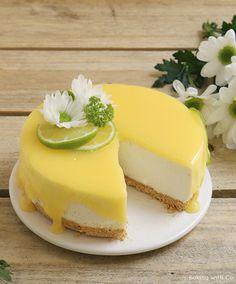 Deliciosa tarta de queso de lima ( o limón) Receta de http://bakingwithco.blogspot.com.es