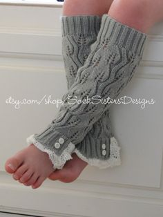 Kids Knit Leg Warmers With Lace for Kids & by SockSistersDesigns, $17.50