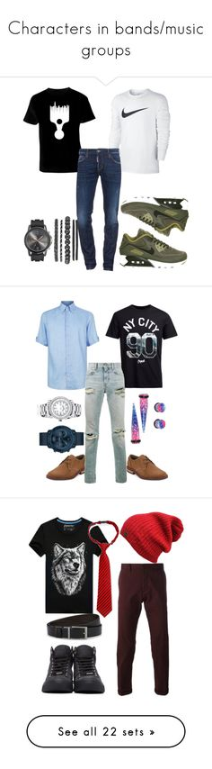 """""""Characters in bands/music groups"""" by diamndz1021 on Polyvore featuring NIKE, Dsquared2, Zilli, Jack & Jones, Original Penguin, Movado, Yves Saint Laurent, men's fashion, menswear and AMI"""