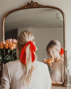 red ribbon details in hair #style