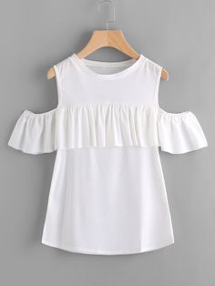 SheIn offers Frill Trim Open Shoulder Tee & more to fit your fashionable needs. Classy Outfits, Stylish Outfits, Cute Outfits, Fashion Outfits, College Outfits, Kids Outfits, Summer Outfits, Cute Middle School Outfits, Frill Tops