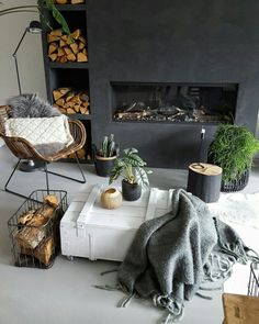 """What You Should Do About Fireplace with Wood Storage Beginning in the Next 9 Minutes The fireplace looks fantastic!"""" Especially in the event the fireplace is in your room or you're the sole guests that day. A lovely fireplace in… Continue Reading → Interior Design Living Room Warm, Living Room Decor, Bedroom Decor, Cosy Living Room Warm, Interior Tropical, Stucco Fireplace, Cosy Fireplace, Fireplace Wall, Hygge Home"""