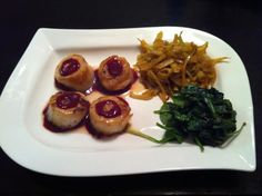 Scallops and spicy raspberry pomegranate sauce. Fennel and turnip hash. Spinach.