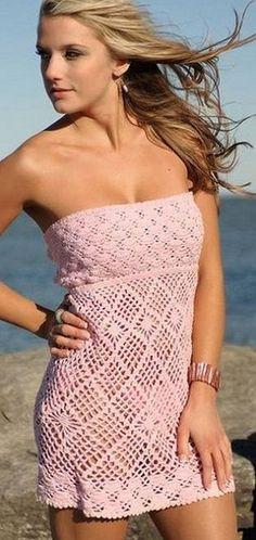 vestido de la playa de ganchillo/ Maria L.Bertolino/ www.pinterest.com...
