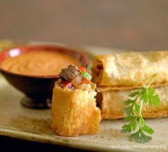 (Recipe In Spanish/Receta En Espanol) Tequeños de lomito saltado en salsa carretillera (4 porciones) : Comida Peruana