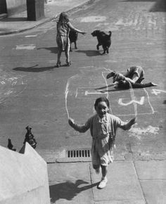 Child's play, not the scary kind (Nigel Henderson, Bethnal Green, Bethnal Green, Vintage London, Old London, East London, Nostalgia, London History, British History, Hopscotch, Back In The Day