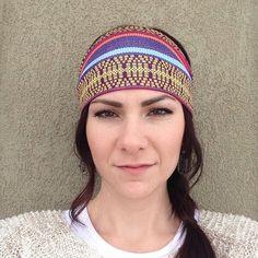 Pink and Yellow Tribal Fabric Head Wrap Headband OR Turban on Etsy, $10.99