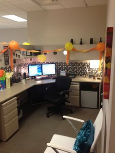 My one and only cubicle.  Friends decorated with balloons for my birthday! <3