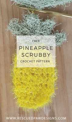 Pineapple Scrubby FREE Crochet Pattern by Rescued Paw Designs. www.rescuedpawdesigns.com. Click to Read or Pin and Save for Later! via @rescuedpaw