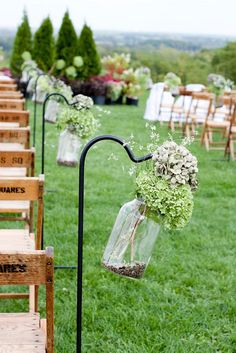 love those chairs and the flower stands