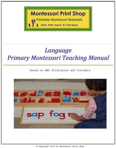 Montessori Language Teaching Manual: 92 pages with theory and presentations of language lessons for the primary Montessori classroom. Printable Montessori materials and lessons for children by Montessori Print Shop. Montessori Theory, Montessori Education, Montessori Classroom, Primary Classroom, Montessori Materials, Montessori Activities, Kindergarten Literacy, Teaching Math, Learning To Write