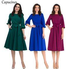 cb3c17f27 2018 otoño Vintage sólido linterna Vestido de manga de las mujeres elegante  o-Cuello media