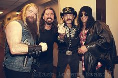 Slash with Lemmy (Motörhead),Zakk Wylde (Black Label Society) and Dave Grohl (Foo Fighters) **On Dave's birthday party at L.A. Forum Concert