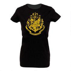 Harry Potter Hogwarts Gold Crest Women's Fitted Black T-Shirt