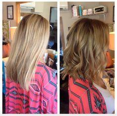 Bronde hair / Light brown long  bob.