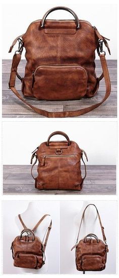 5b92c4d54cbf Handmade Genuine Leather Hand Bag Convertible Backpack for Women Casual  Leather Backpack 가죽 핸드백
