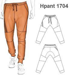 Mens Joggers Sweatpants, Mens Jogger Pants, Fashion Sewing, Mens Fashion, Sewing Men, Fashion Design Sketches, Pants Pattern, Apparel Design, Clothing Patterns