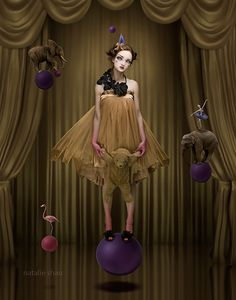 Natalie Shau, digital photo artist, presents surrealism in visual form. Learn how to edit photos for gothic art with her personal set of Photoshop brushes. Dark Circus, Circus Art, Circus Room, Circus Theme, Et Tattoo, Night Circus, Foto Art, Vintage Circus, Vintage Carnival