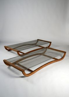 Anonymous; Laminated Bentwood and Iron Mesh Beds by Pinton, 1930s