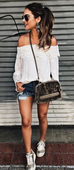 summer+outfit+blouse+++bag+++denim+shorts