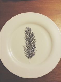 Sharpie plate. #diy #feather