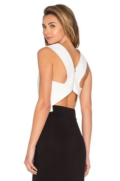 Tibi Apron Cropped Top in Ivory | REVOLVE