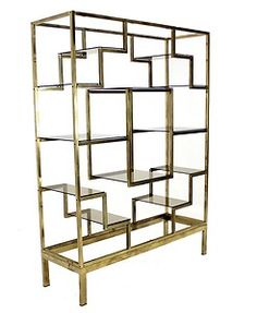 Metal and Glass Rose Gold  CUSTOM PAINT Entertainment Stand Console Milo Baughman Media Etagere Rose Gold Metal Unit Media Center