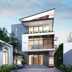 The exterior is the face of the house that everyone will see in the first part. Take a look at the world's most beautiful modern homes and find Residential Architecture, Contemporary Architecture, Architecture Design, Facade Design, Exterior Design, Beautiful Modern Homes, Villa, Facade House, Modern House Design