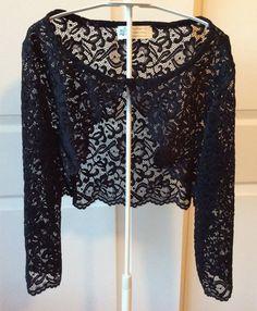 705fc14f0bdb Black Stretch Lace Wedding Prom Shrug Bolero Jacket Plus Sizes to small  sizes. Style No. 202