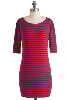 Give It a Tribeca Dress in Red - Red, Blue, Stripes, Casual, Sheath / Shift, Long Sleeve, Fall, Short