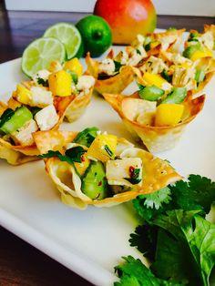 Chicken Mango Salad Wontons