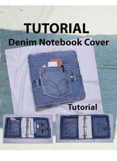 Covered Denim Notebook Tutorial by ljeans on EtsyThis Covered Denim Notebook Tutorial is just one of the custom, handmade pieces you'll find in our patterns & how to shops.Recycled denim notebook cover - All you need is two notebooks, hot glue, and a Jean Crafts, Denim Crafts, Fabric Crafts, Sewing Crafts, Sewing Projects, Blue Jeans, Denim Ideas, Denim Bag, Sewing Hacks