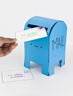 Pretend Play with a Printable Happy Mail Box (Handmade Charlotte) Kids Crafts, Preschool Crafts, Mailman Crafts, Diy Paper, Paper Crafts, Diy Karton, Diy Mailbox, Printable Activities For Kids, Diy Cardboard