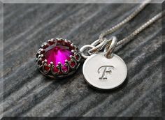 Ruby July Birthstone Necklace Sterling Silver by thewrappedpixie