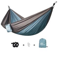 Forbidden Road Swing Camping Hammock Nylon with Straps Hammock Swing, Backpacking, Camping, Outdoor Furniture, Outdoor Decor, Black And Grey, Hiking, Campsite