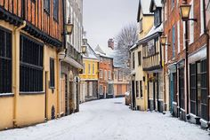 Nothing in the world is prettier than Elm Hill in the snow! Elm Hill in Norwich, Norfolk.