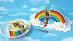 Surprise and delight with this candy-filled, rainbow-shaped cake.