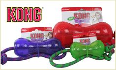 KONG Squeezz Dumbbell with Rope is the perfect interactive toy for you and your dog. Designed for durability with a recessed, protected squeaker, KONG Squezz Dumbbell with Rope is great for indoor and outdoor use. It's perfect for tossing, tugging and retrieving and comes in assorted colors (green, purple, red) and three different sizes: small, medium, or large. Make your dog's playtime a bit more fun with this great toy. From $8