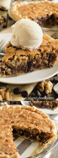 This Toll House Chocolate Chip Pie from A Family Feast is a dessert lovers dream come true! It has all of the classic flavors of your all time favorite cookie recipe — sweet, buttery batter with chocolate chips and walnuts – baked into a pie form!