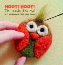 The Funky Felter shows us such a clever way the needle felt this cute little owl ;-) Love it! #tutorial