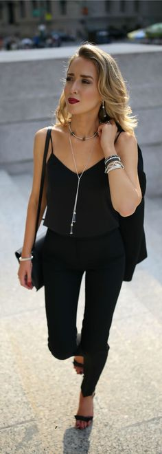 Click for outfit details! Satin-trimmed blazer, black silk camisole, black tuxedo pants, black andkle strap sandals, Lagos jewelry, black purse {Lagos, day to night, classy dressing}